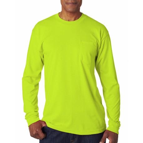BA1730 Bayside BA1730 Adult Long-Sleeve T-Shirt with Pocket LIME GREEN