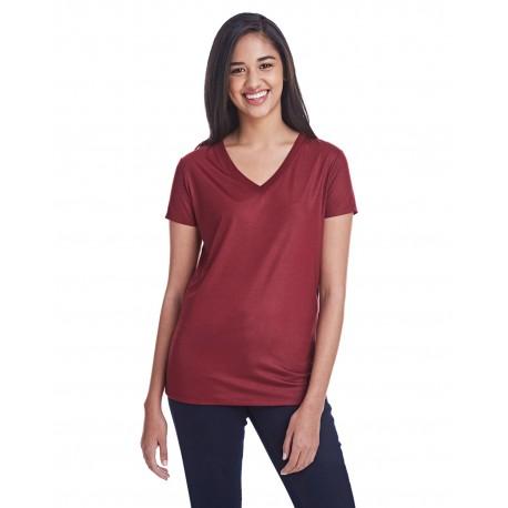 240RV Threadfast Apparel 240RV Ladies' Liquid Jersey V-Neck T-Shirt LIQUID CARDINAL