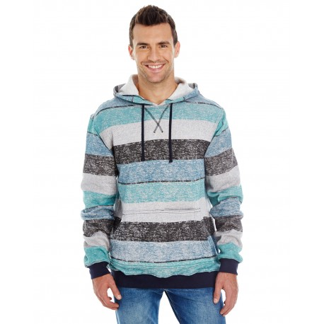 B8603 Burnside B8603 Men's Printed Stripe Marl Pullover LT BLUE/BLACK