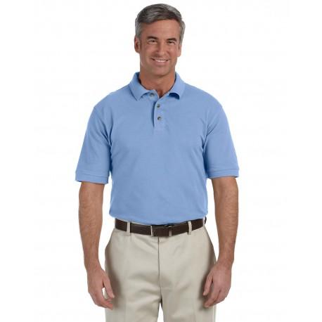 M200 Harriton M200 Men's 6 oz. Ringspun Cotton Pique Short-Sleeve Polo LT COLLEGE BLUE