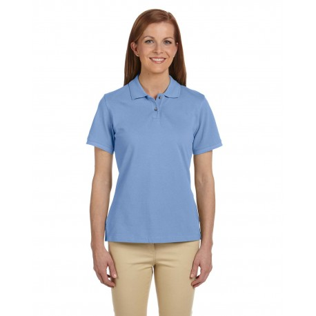 M200W Harriton M200W Ladies' 6 oz. Ringspun Cotton Pique Short-Sleeve Polo LT COLLEGE BLUE