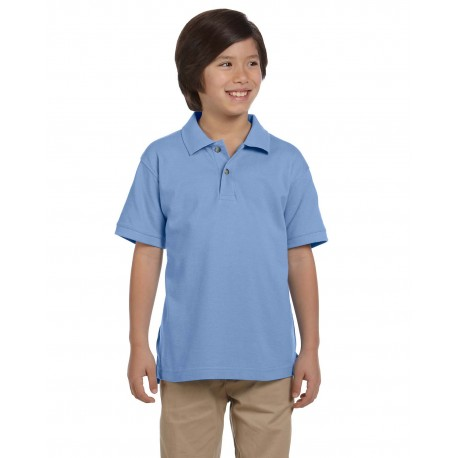 M200Y Harriton M200Y Youth 6 oz. Ringspun Cotton Pique Short-Sleeve Polo LT COLLEGE BLUE