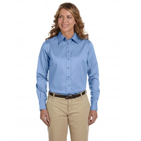 M500W Harriton M500W Ladies' Easy Blend Long-Sleeve Twill Shirt with Stain-Release LT COLLEGE BLUE