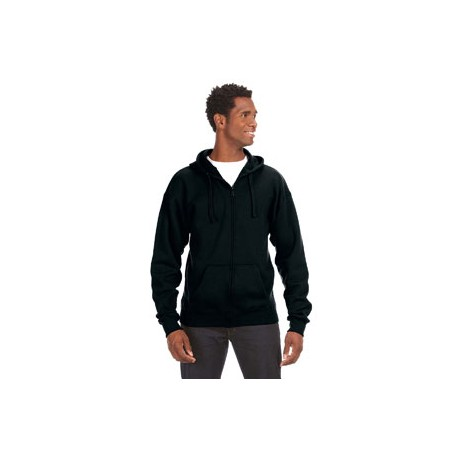 JA8821 J America JA8821 Adult Premium Full-Zip Fleece Hood BLACK