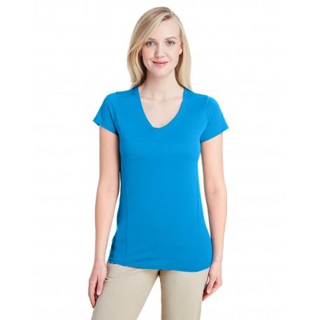 G47V Gildan G47V Ladies' Performance Ladies' 4.7 oz. V-Neck Tech T-Shirt MARBLED SAPPHIRE