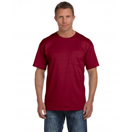 3931P Fruit of the Loom 3931P Adult 5 oz. HD Cotton Pocket T-Shirt MAROON
