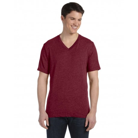 3415C Bella + Canvas 3415C Unisex Triblend Short-Sleeve V-Neck T-Shirt MAROON TRIBLEND