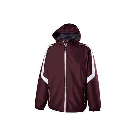 229059 Holloway 229059 Adult Polyester Full Zip Charger Jacket MAROON/WHITE