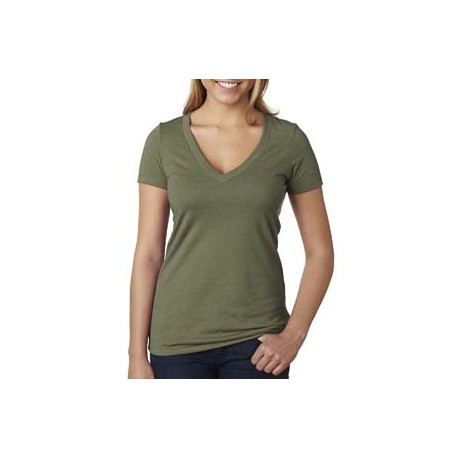 6640 Next Level 6640 Ladies' CVC Deep V MILITARY GREEN