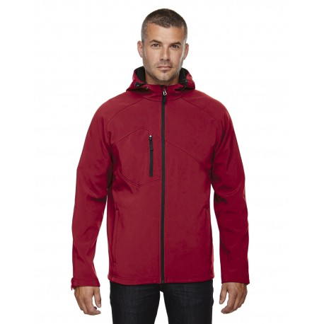 88166 North End 88166 Men's Prospect Two-Layer Fleece Bonded Soft Shell Hooded Jacket MOLTEN RED 751