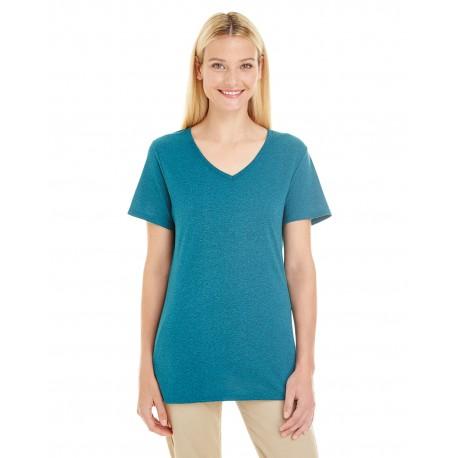 601WVR Jerzees 601WVR Ladies' 4.5 oz. TRI-BLEND V-Neck T-Shirt MOSAIC BLUE HTHR