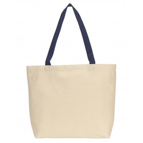 220 Gemline 220 Colored Handle Tote NATURAL/NAVY