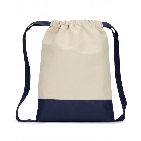 8876 Liberty Bags 8876 Cape Cod Cotton Drawstring Backpack NATURAL/NAVY