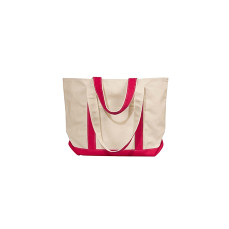 8871 Liberty Bags 8871 Windward Large Cotton Canvas Classic Boat Tote NATURAL/RED