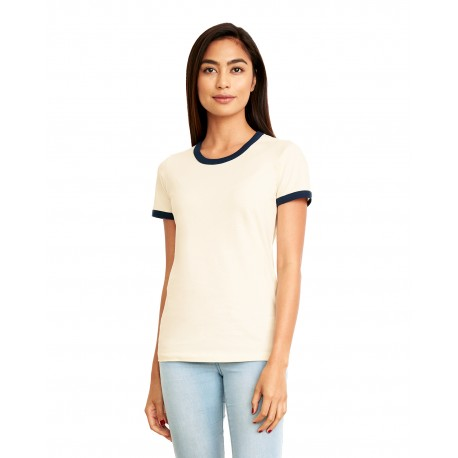 3904 Next Level 3904 Ladies' Ringer T-Shirt NATURL/MDNT NVY