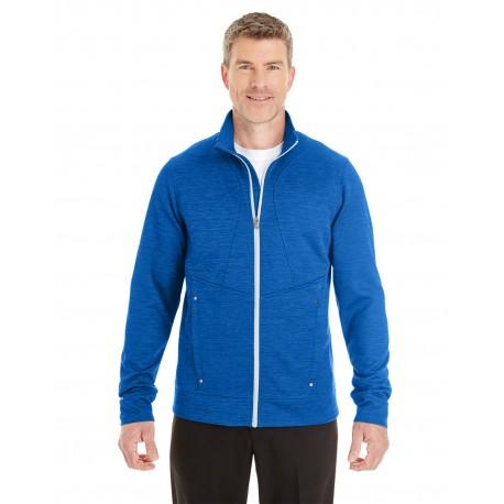 NE704 North End NE704 Men's Amplify Melange Fleece Jacket NAU BLU/PLT 413