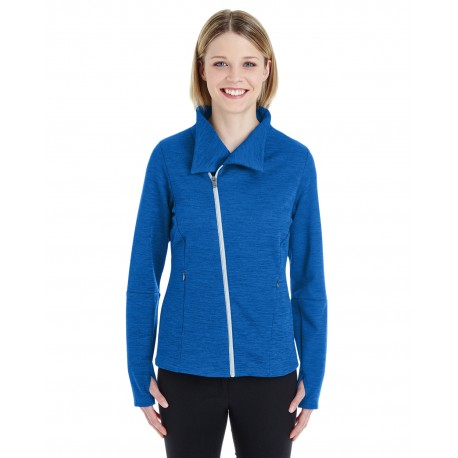 NE704W North End NE704W Ladies' Amplify Melange Fleece Jacket NAU BLU/PLT 413