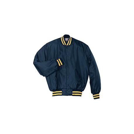 229140 Holloway 229140 Adult Polyester Full Snap Heritage Jacket NAV/LT GLD/WHT