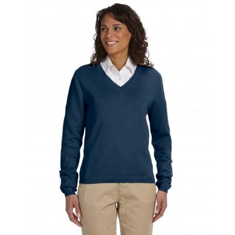 D475W Devon & Jones D475W Ladies' V-Neck Sweater NAVY