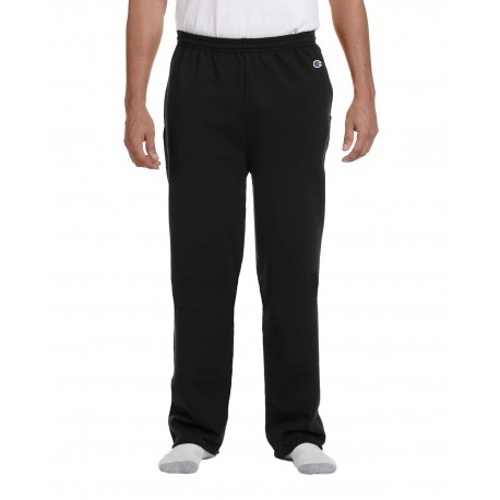 P800 Champion P800 Adult 9 oz. Double Dry Eco Open-Bottom Fleece Pant with Pockets BLACK