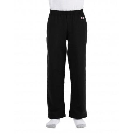 P890 Champion P890 Youth 9 oz. Double Dry Eco Open-Bottom Fleece Pant BLACK