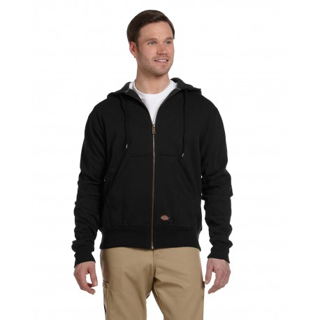 TW382 Dickies TW382 Men's 470 Gram Thermal-Lined Fleece Hooded Jacket BLACK
