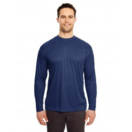 8422 UltraClub 8422 Adult Cool & Dry Sport Long-Sleeve Performance Interlock T-Shirt NAVY