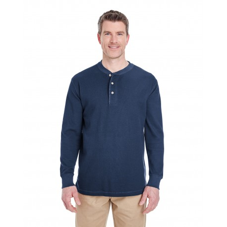 8456 UltraClub 8456 Adult Mini Thermal Henley NAVY