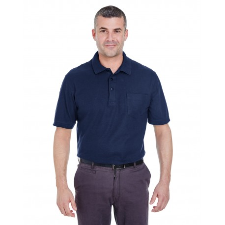 8544 UltraClub 8544 Adult Whisper Pique Polo with Pocket NAVY