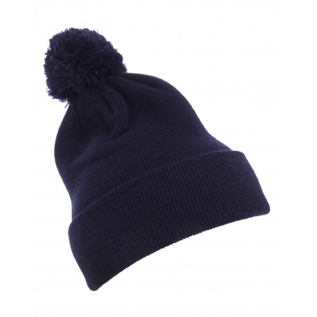 1501P Yupoong 1501P Cuffed Knit Beanie with Pom Pom Hat NAVY