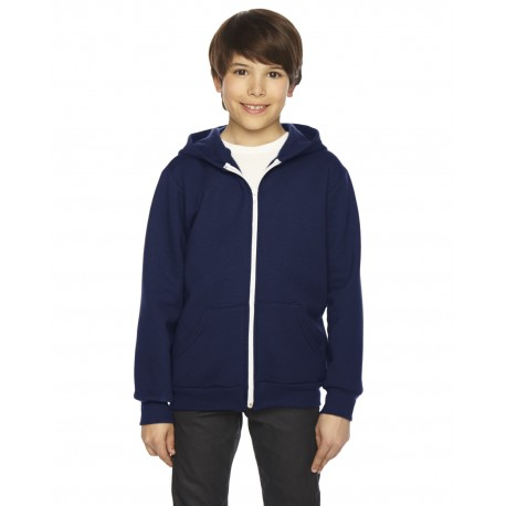 F297W American Apparel F297W Youth Flex Fleece Zip Hoodie NAVY