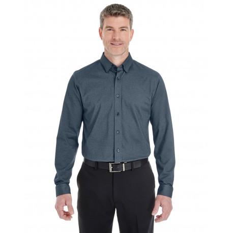 DG230 Devon & Jones DG230 Men's Central Cotton Blend Melange Button-Down NAVY HEATHER