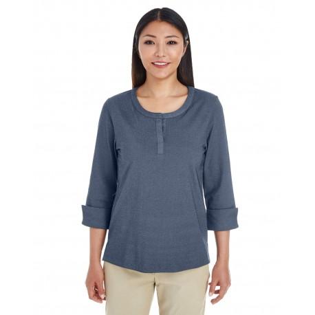 DG230W Devon & Jones DG230W Ladies' Central Cotton Blend Melange Knit Top NAVY HEATHER