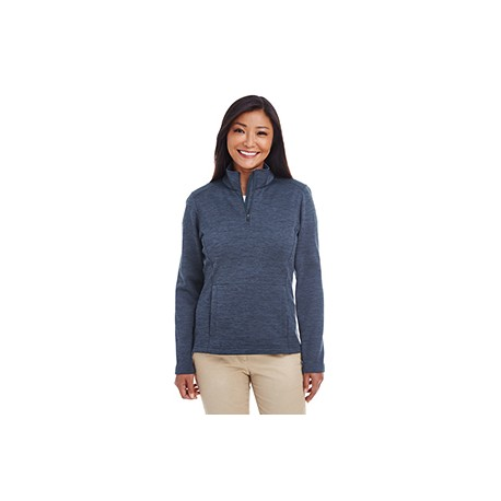DG798W Devon & Jones DG798W Ladies' Newbury Melange Fleece Quarter-Zip NAVY HEATHER