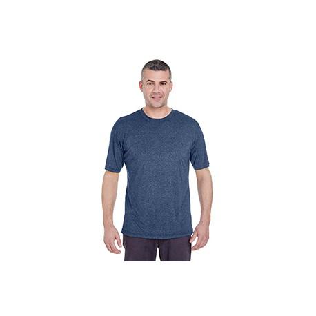 8619 UltraClub 8619 Men's Cool & Dry Heathered Performance T-Shirt NAVY HEATHER