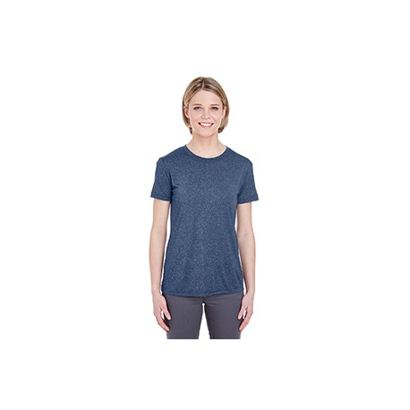 8619L UltraClub 8619L Ladies' Cool & Dry Heathered Performance T-Shirt NAVY HEATHER
