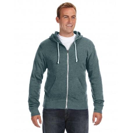 JA8872 J America JA8872 Adult Triblend Full-Zip Fleece Hood NAVY TRIBLEND