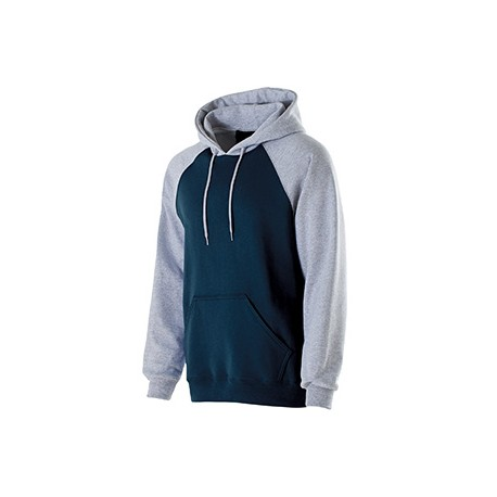 229279 Holloway 229279 Youth Cotton/Poly Fleece Banner Hoodie NAVY/ATHL HTHR