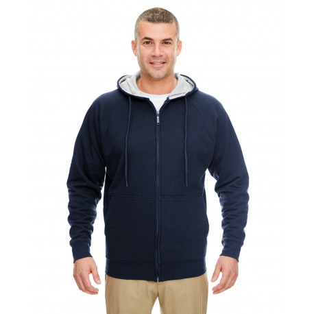 8463 UltraClub 8463 Adult Rugged Wear Thermal-Lined Full-Zip Hooded Fleece NAVY/HTHR GRY