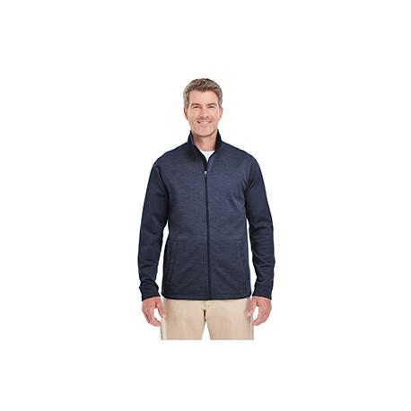 DG796 Devon & Jones DG796 Men's Newbury Colorblock Melange Fleece Full-Zip NAVY/NAVY HTHR