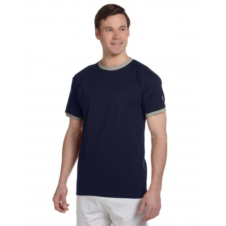 T1396 Champion T1396 Adult 5.2 oz. Ringer T-Shirt NAVY/OXFORD GRY