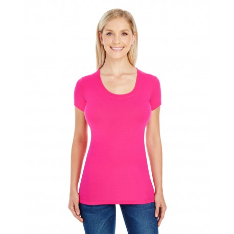 220S Threadfast Apparel 220S Ladies' Spandex Short-Sleeve Scoop Neck T-Shirt ACTIVE PINK
