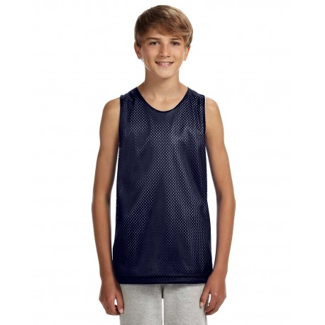 N2206 A4 N2206 Youth Reversible Mesh Tank NAVY/WHITE