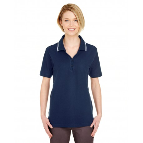 8546 UltraClub 8546 Ladies' Short-Sleeve Whisper Pique Polo with Tipped Collar NAVY/WHITE
