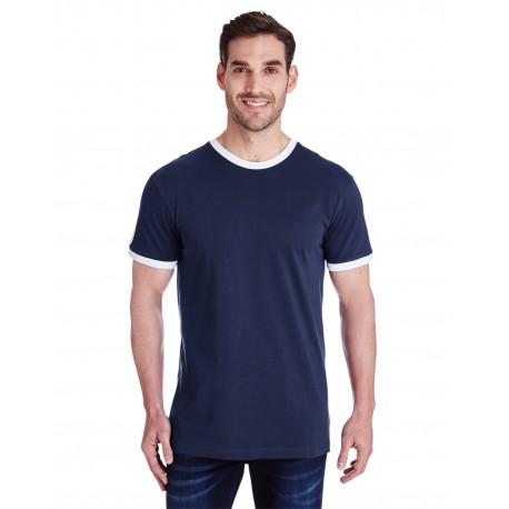 6932 LAT 6932 Men's Soccer Ringer Fine Jersey T-Shirt NAVY/WHITE