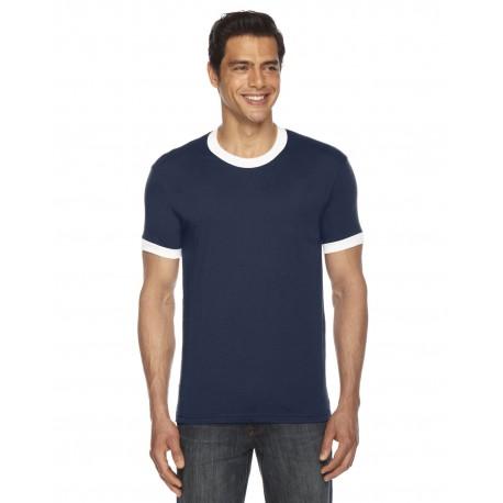 BB410W American Apparel BB410W UNISEX Poly-Cotton Short-Sleeve Ringer T-Shirt NAVY/WHITE