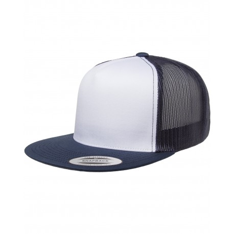 6006W Yupoong 6006W Adult Classic Trucker with White Front Panel Cap NAVY/WHT/NAVY