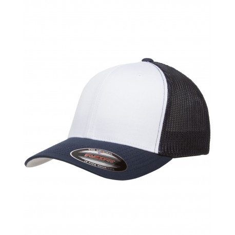 6511W Yupoong 6511W Flexfit Trucker Mesh with White Front Panels Cap NAVY/WHT/NVY