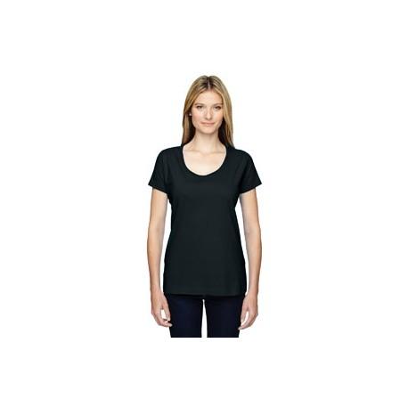 3504 LAT 3504 Ladies' Scoop Neck Fine Jersey T-Shirt BLACK