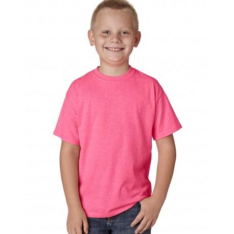 H420Y Hanes H420Y Youth 4.5 oz. X-Temp Performance T-Shirt NEON PINK HTHR